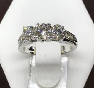 14K WG 3 Stone Ring