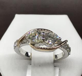 14K TT 2 CTTW 2 Stone Ring