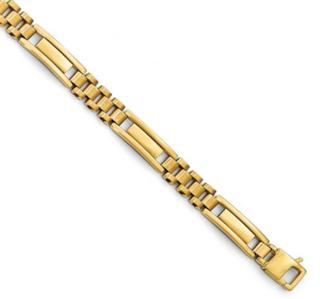 14K YG Polished/Brushed Link Mens Bracelet