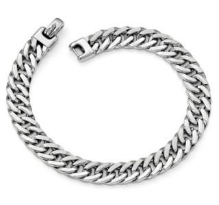 9MM 14K WG Polished Mens Bracelet