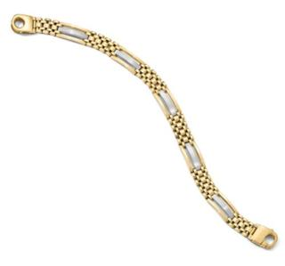 14K 2 Tone Gold Polish/Satin Mens Bracelet