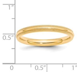 3MM 14K Millgrain Wedding Band