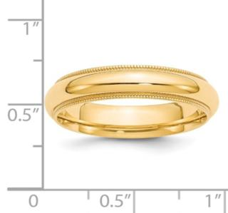 5MM 14K Millgrain Wedding Band