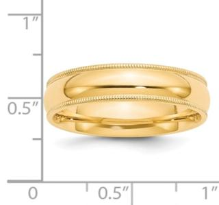6MM 14K Millgrain Wedding Band