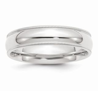 6MM 14K WG Millgrain Comfort Wedding Band