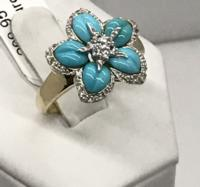 14K YG Diamond/Turquoise Ring
