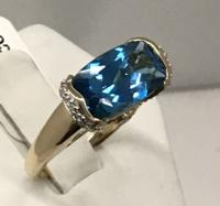 14K YG Blue Zircon Ring
