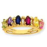 14K YG Oval Stone Mothers Ring